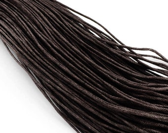 15ft Dark Coffee Brown Wax Cotton Cord Bracelet Necklace Cord 2mm (No.304)