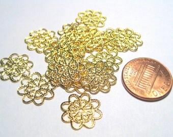 20pcs Gold Plated Filigree Flower Links 14mm