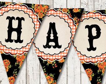 HAPPY HARVEST Printable Digital Bunting Banner