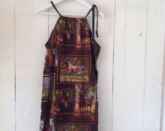 Sale Children's Girls Summer Cotton Horse Dress.Size 4 to 6.