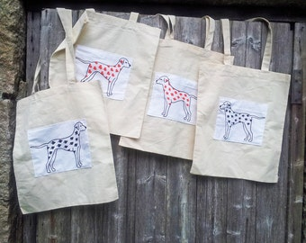 Dalmatian Drawing Playing Cards Print Stitched Tote Bags