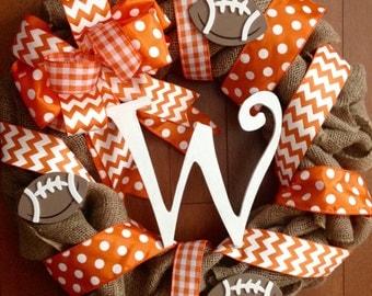TN Vols Wreath, Vols Door Hanger, Tennessee Wreath, Volunteers Wreath, Vols Football Wreath, Orange and White Wreath