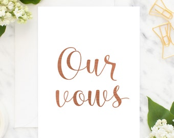 Our vows cards - wedding memento's, real foil cards, bride and groom gifts, cards to give to each other on your special day, custom vows