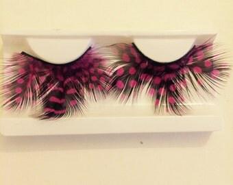 Huge Pink & Black spotted feather fake eyelashes