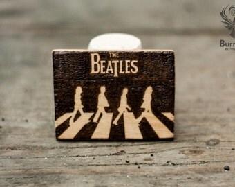 Magnet with pyrography, rock, music, the beatles, beatles, john lennon, paul mccartney, original surreal art, emblem