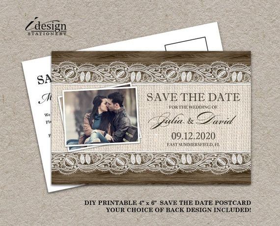 Rustic save the date card printable photo save the date for Printable save the date cards