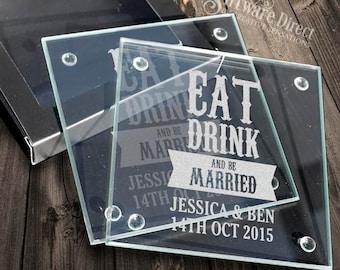 Personalised Engraved Glass Wedding Coaster Favour Bomboniere Gift Custom Made Keepsake australia