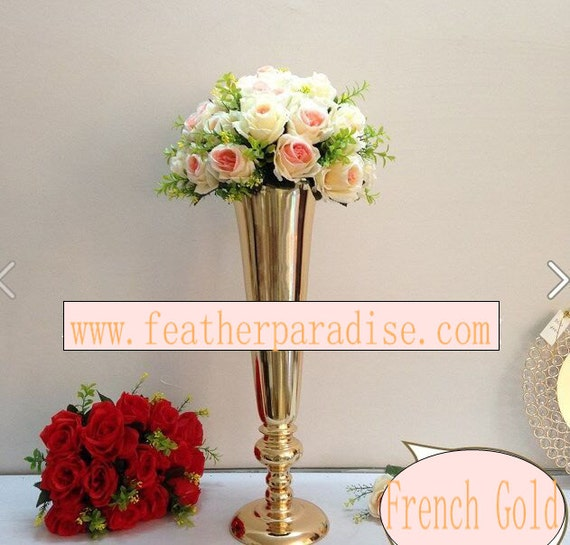 Gold tall trumpet metal polished vases centerpiece