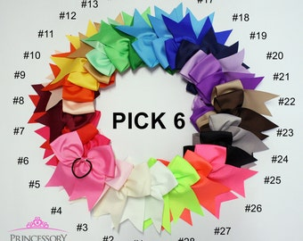 "6 xl cheer bows - cheerbows - pink cheer bow - purple cheer bow - green cheer bow - cheerleading bow - cheer - white cheer bow - 7"" x 8"""