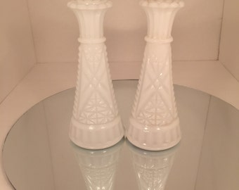 Vintage Milk Glass Bud Vase-Set of 2