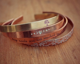 Deep Roots Are Not Reached By The Frost, Tree Of Life Jewelry, Cuff Bracelet, Set of Bracelets, Best Friend Gift, Sister Gift, Friend