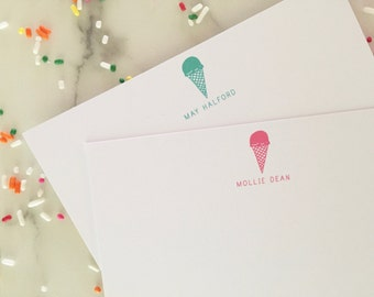 Ice Cream Personalized Stationary - Kids Stationery Set of 20 Personalized Note Cards Thank You Notes