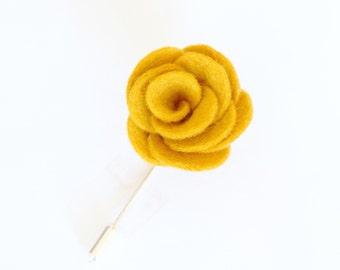 Mens lapel pin | Mustard yellow flower lapel pin | mustard suit and tie accessories / mustard yellow boutonniere