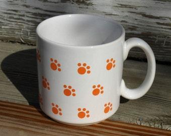 Vintage Iams Mug Orange Paw Prints Ceramic Made in England