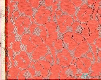 "Dark Orange Small Rose Flower Lace Fabric 2 Way Stretch Polyester  58-60"""