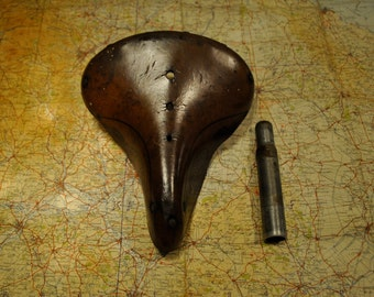 Rare Vintage French Very Best Leather sprung Bicycle Saddle Eroica Antique touring