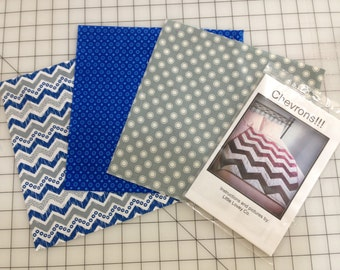 Three Color Chevron Baby Quilt Kit and Pattern