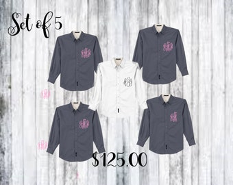 monogrammed button ups, bridal shirts, monogrammed shirt, personalized shirts