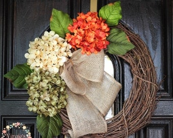 Hydrangea Wreath-Fall Wreath-Front Door Wreath-Halloween Grapevine Wreath-Everyday Wreath-Housewarming-Mothers Day Gift