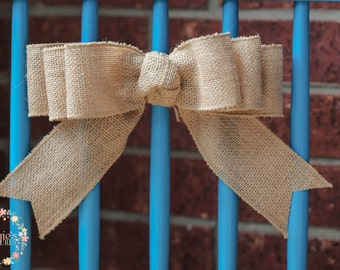 Natural Burlap Bow-Wired Burlap Bow-Three Loop Burlap Knot Bow-Wreath Accent Bow-Party-Present