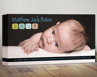 Baby Stats with Picture Birth Announcement Canvas, Nursery Wall Decor, Nursery Photo Wall Art, Unique Birth Shower Gift Baby Girl Boy Canvas