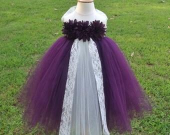 plum purple and ivory tutu dress, eggplant baby toddler tutu dress, first birthday tutu dress, plum flower girl dress,