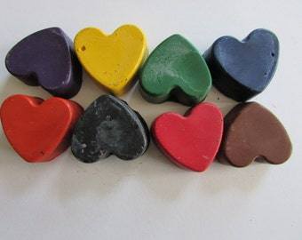 Hearts  Crayon 8 pack-Recycled Crayons  - hearts - Party Favor - Kids - Coloring - Easter Basket - Stocking Stuffer