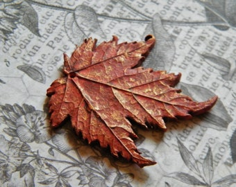 Rustic Fall Red Maple Leaf Pendant, Fall Leaf Pendant, Fall Pendants, Leaf Pendants, Maple Leaf Pendant, Polymer Clay, Fall Beads