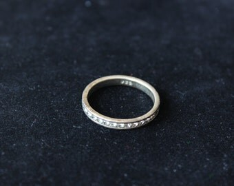 90s Tarninshed Sterling Silver Crystal Ring Size 10