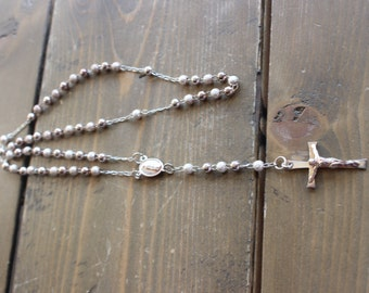 Silver Necklace Rosary 22 inches Marked 925 (Sterling)