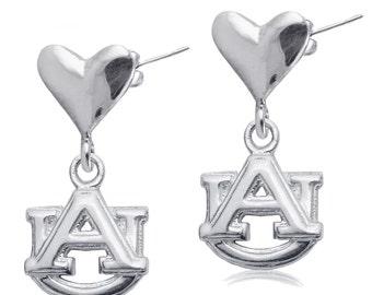 Auburn Heart Post Earrings, War Eagle Tigers Silver Jewelry, AUU-6224