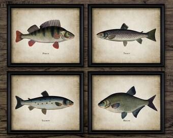 Fishing Print Set of 4 - Vintage Angling Art - Fish Print - Fisherman Gift Idea - Printable Art - Set Of Four Prints #796 - INSTANT DOWNLOAD