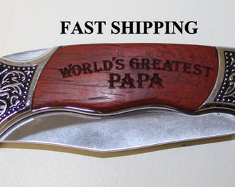 Hunting Knife/Engraved/Father's Day Gift/Wedding Gift/Rosewood/Groomsmen Gifts/Personalized/Pocket Knife/Custom Engraving/Father's Day Gift