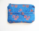 Floral Block Printed on Hand Dyed Canvas Zipper Bag