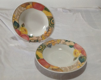 Mikasa Heritage Orchard Odyssey Set of 2 Soup Bowls Colorful Fruit