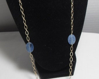 SALE Long Blue labradorite Necklace, Gold Filled chain, wire wrapped Blue gemstone necklace, High fashion Gift for her,  Gingerslittlegems