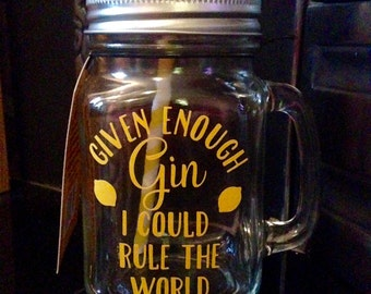 Gin - Personalised Mason Drinking Jar