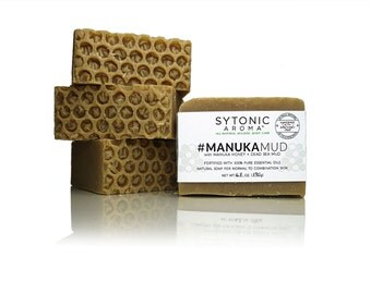 MANUKA MUD SOAP - Manuka Honey + Dead Sea Mud (6.4 to 6.6 oz.) - All Natural, Handmade, Cold Process, Essential Oil Soap