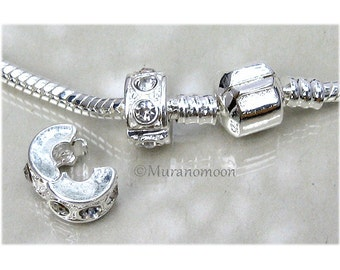 CLIP LOCK Stop Lock For European Bracelet Diamond Crystal Charm Bead Fit Charm Bracelet Birthstone Colors #A09