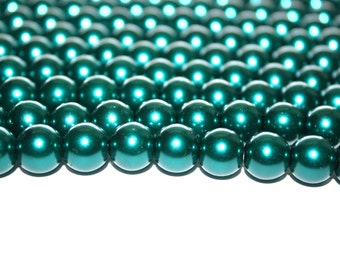 Dark Teal Green Glass Pearls - 14mm - 30ct