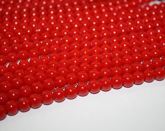 Red Glass Beads, Glass beads, Red Beads - 8mm - 52ct - D093