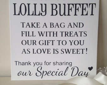 Welcome to the Lolly Buffet shabby chic wedding sign photo prop