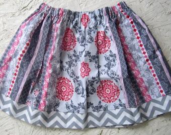 Girls Circle Skirt,Girls Twirl Skirt,Size ,Handmade,All Season's,Cotton fabric,Flowers,Chevron,Stripes,Polka Dots, Pink,Grey, White