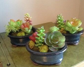 Mini succulents, Succulents, small succulents, Faux Plant Arrangement, Fake Plants, Tiny Fake Plants, Succulent Arrangement, Cactus