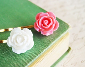 Pair of Pink and White Rose Bobby Pins, Pink Flower Hair Pins in Gold, Spring Summer Hair Accessories