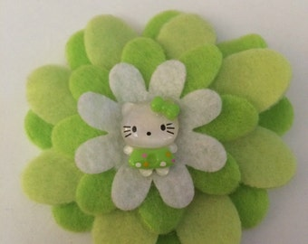 Beautiful felt flower girls hair clip with Hello Kitty.