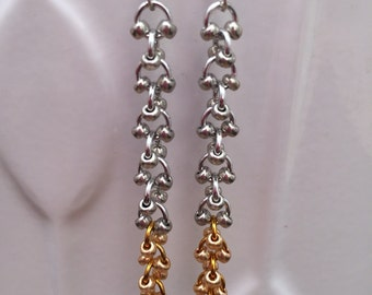 STOCK CLEARANCE-Silver and gold chainmaille earrings