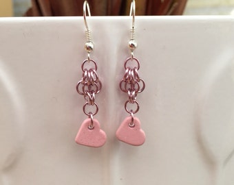 STOCK CLEARANCE-Pink chainmaille and ceramic heart earrings