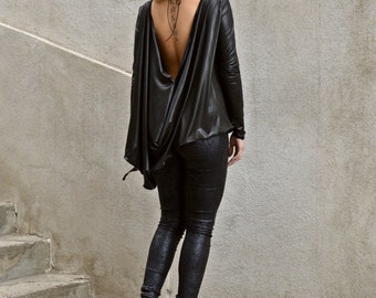 Black Asymmetrical Tunic / Black Ponte Di Roma Tunic / Black Backless Top / Backless Loose Top TT70