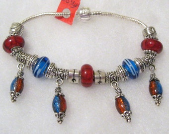 583 - NEW - X-Long - Red and Blue Bracelet